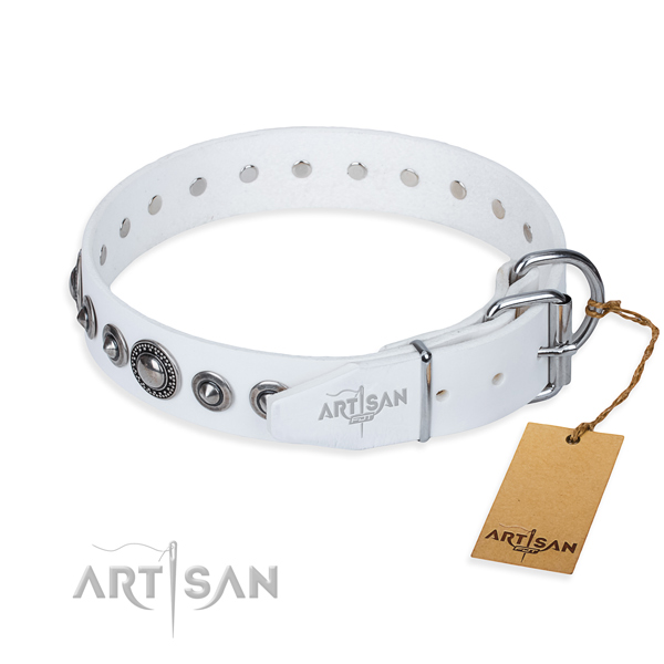 Full grain natural leather dog collar made of soft to touch material with reliable embellishments