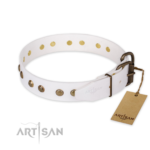 Rust resistant D-ring on full grain leather collar for your attractive doggie