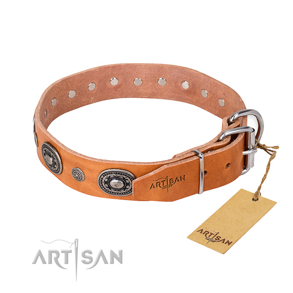 Gentle to touch full grain natural leather dog collar made for daily use
