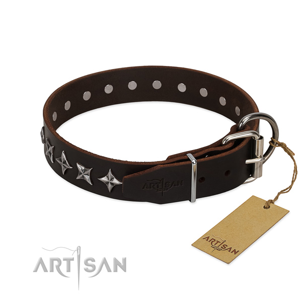 Comfy wearing decorated dog collar of top quality natural leather