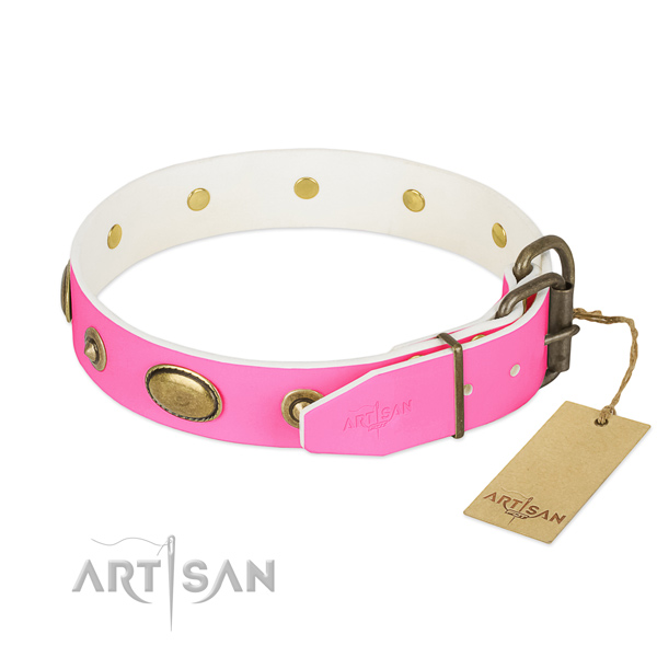 Corrosion resistant hardware on full grain genuine leather dog collar for your four-legged friend