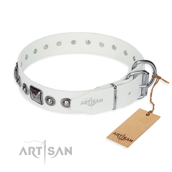 Durable full grain natural leather dog collar created for fancy walking