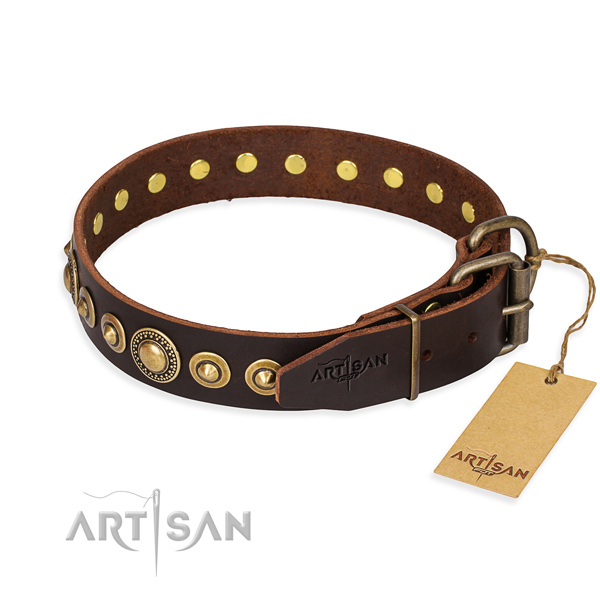 Top rate natural genuine leather dog collar crafted for everyday use