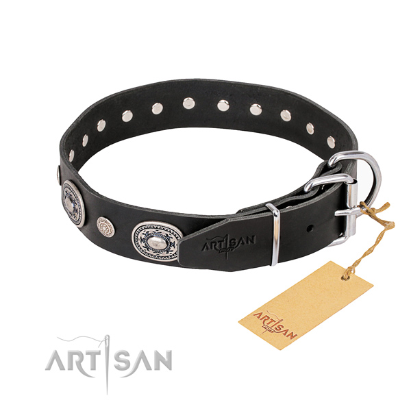 Reliable full grain leather dog collar made for daily use