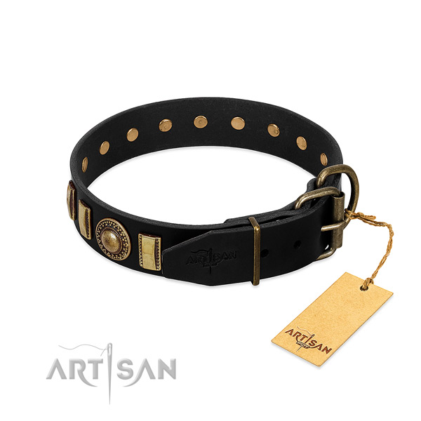Strong genuine leather dog collar with decorations