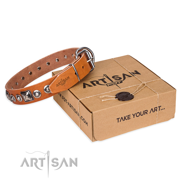 Natural genuine leather dog collar made of soft material with corrosion resistant D-ring