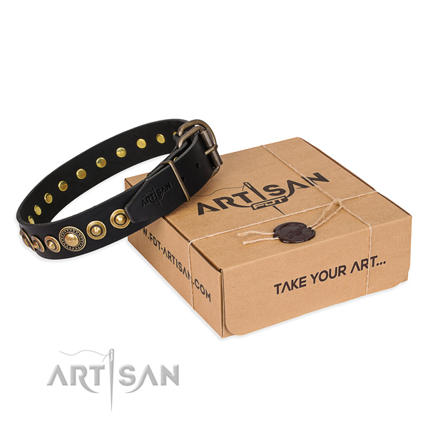 Soft leather dog collar handmade for daily use