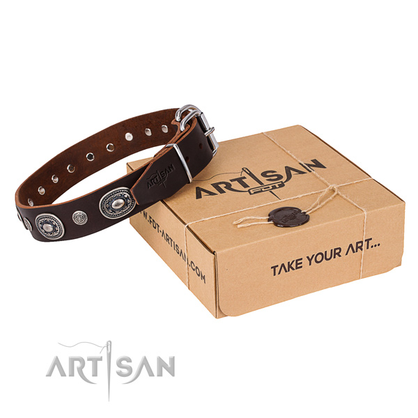 Top notch genuine leather dog collar handcrafted for comfy wearing
