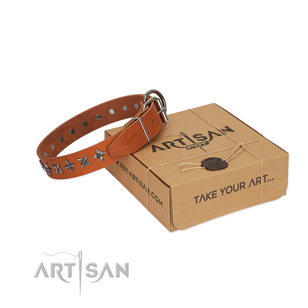 Easy wearing dog collar of reliable natural leather with decorations