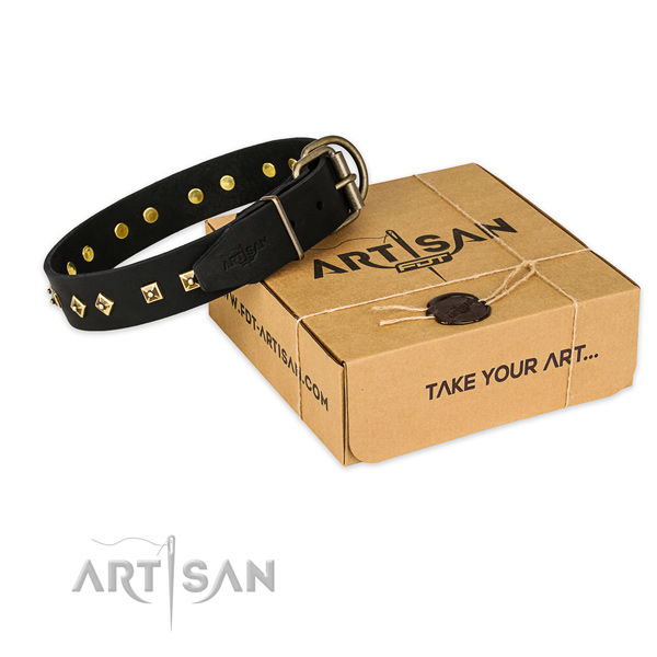 Rust-proof traditional buckle on full grain natural leather dog collar for everyday use