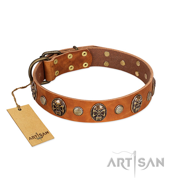 Handmade genuine leather dog collar for fancy walking