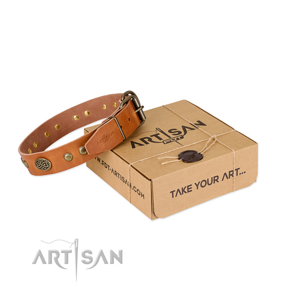 Rust-proof D-ring on full grain genuine leather dog collar for your doggie