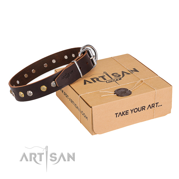 Strong genuine leather dog collar handcrafted for stylish walking