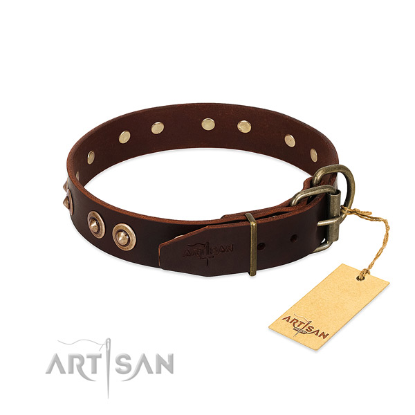 Strong D-ring on genuine leather dog collar for your canine