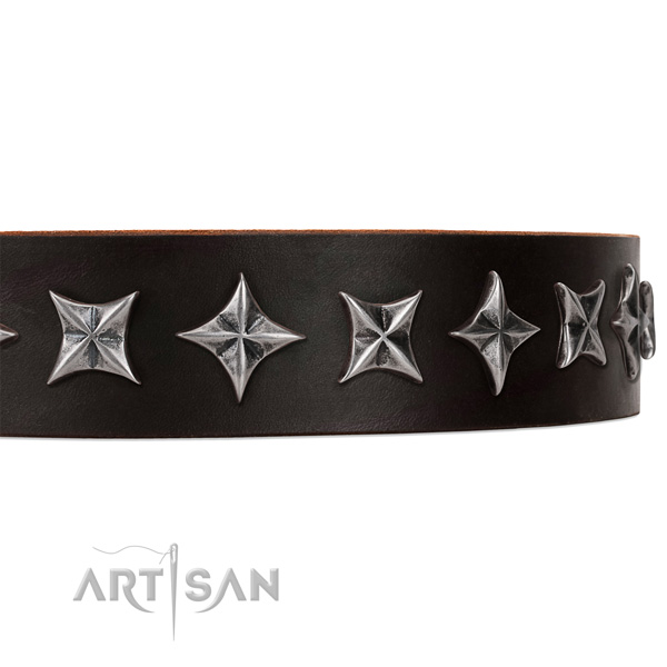 Easy wearing studded dog collar of fine quality full grain genuine leather