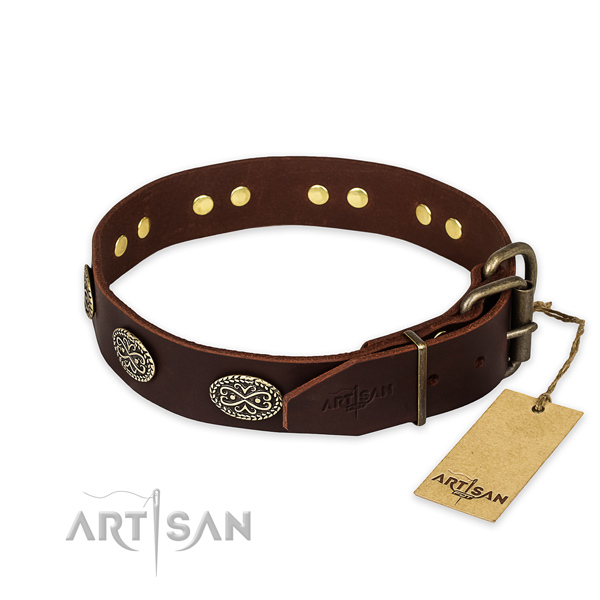 Rust resistant hardware on full grain natural leather collar for your attractive four-legged friend