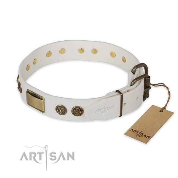 Corrosion resistant hardware on full grain genuine leather collar for basic training your four-legged friend