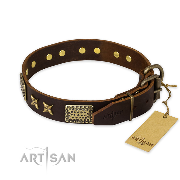 Rust resistant buckle on leather collar for your impressive pet