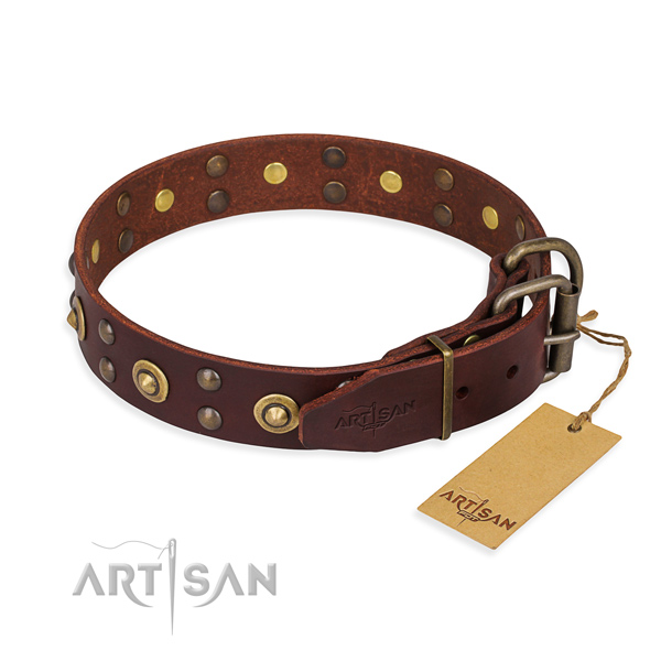 Strong fittings on genuine leather collar for your stylish dog