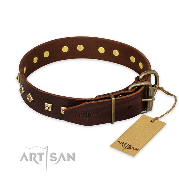 Rust-proof buckle on genuine leather collar for daily walking your pet