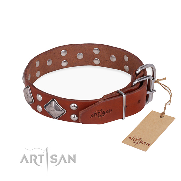 Natural leather dog collar with inimitable rust-proof studs