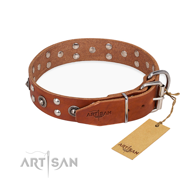 Rust resistant hardware on full grain genuine leather collar for your stylish dog