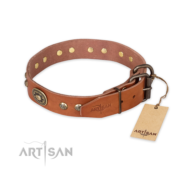 Rust-proof D-ring on full grain genuine leather collar for stylish walking your canine
