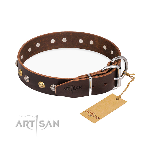Reliable full grain genuine leather dog collar handmade for easy wearing