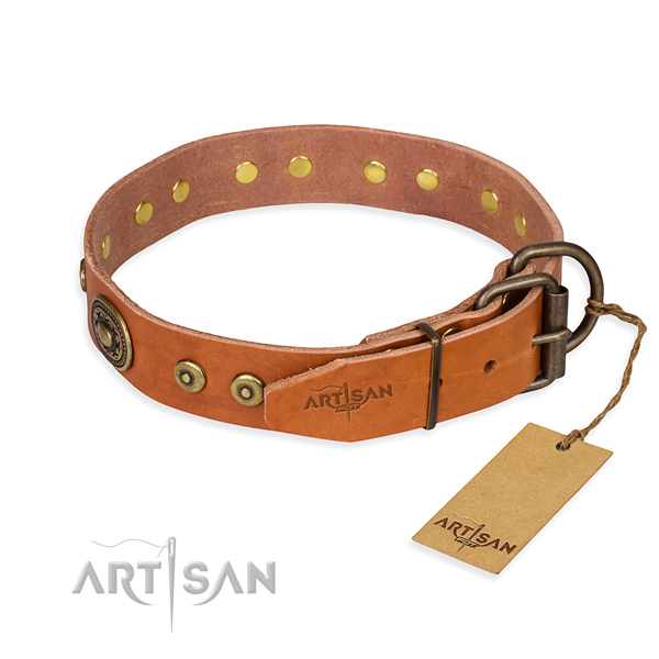 Genuine leather dog collar made of reliable material with corrosion proof embellishments