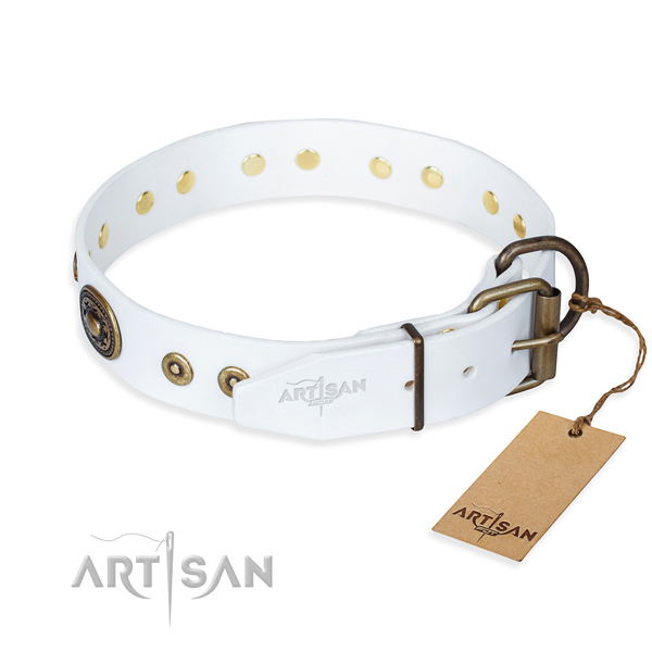 Leather dog collar made of flexible material with corrosion resistant studs