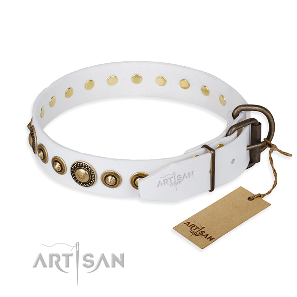 Gentle to touch leather dog collar handcrafted for basic training
