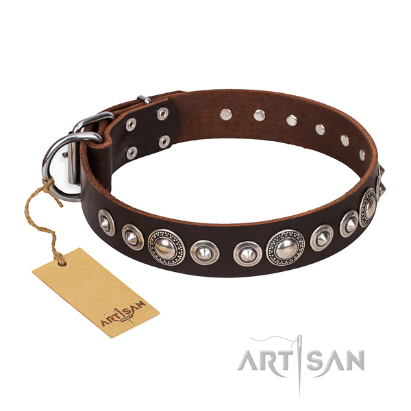 Full grain leather dog collar made of reliable material with strong decorations