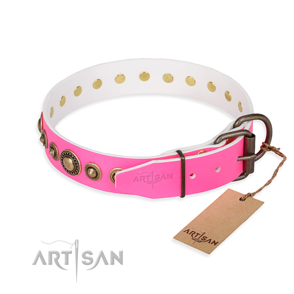 Soft to touch full grain genuine leather dog collar handmade for handy use