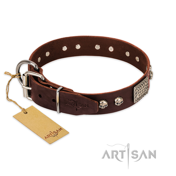 Rust resistant embellishments on easy wearing dog collar