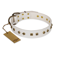 """Snow Cloud"" FDT Artisan White Leather English Bulldog Collar with Square and Rhomb Studs"
