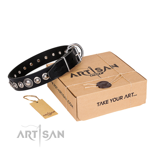 Reliable full grain natural leather dog collar