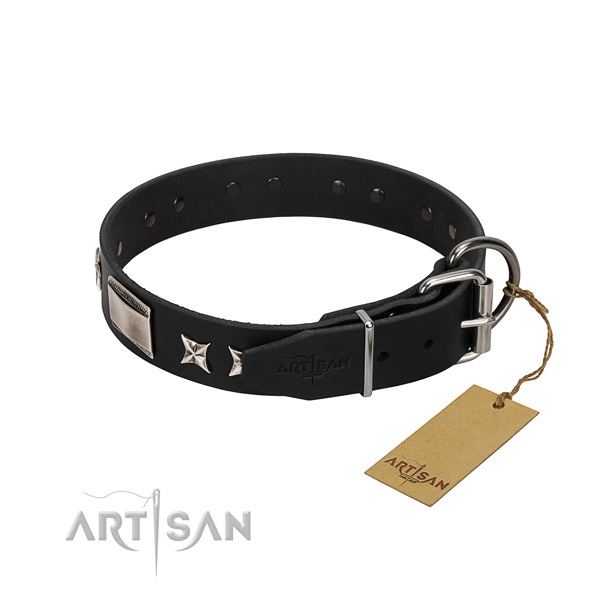 Soft to touch full grain natural leather dog collar with durable hardware
