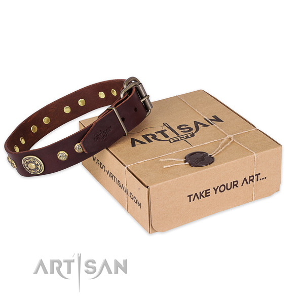 Rust resistant hardware on genuine leather dog collar for easy wearing