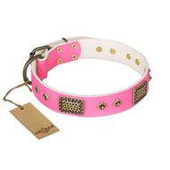 """Frenzy Candy"" FDT Artisan Decorated Pink Leather English Bulldog Collar"
