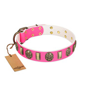 """Perilous Beauty"" Pink FDT Artisan Leather English Bulldog Collar with Small Plates and Skulls"