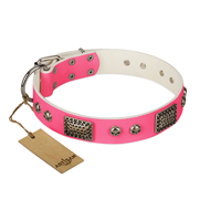 """Fashion Skulls"" FDT Artisan Pink Leather English Bulldog Collar with Old Silver Look Plates and Skulls"