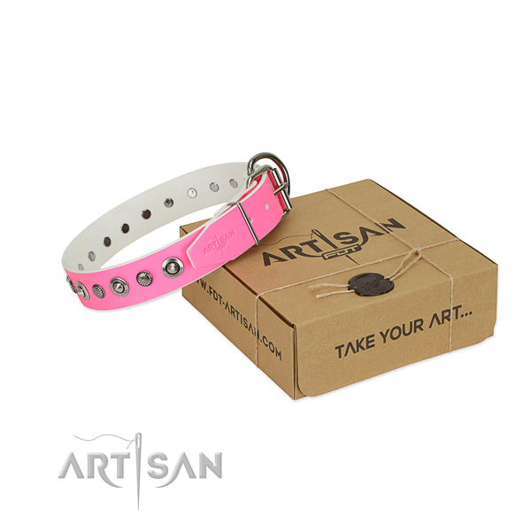Best quality genuine leather dog collar with inimitable adornments