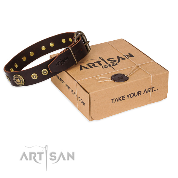 Full grain genuine leather dog collar made of high quality material with rust-proof D-ring