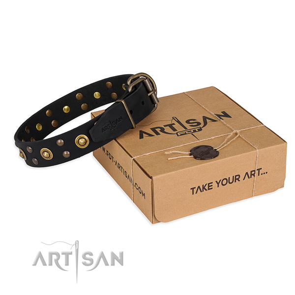 Durable D-ring on full grain genuine leather collar for your stylish dog