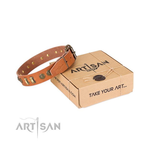 Durable adornments on natural leather dog collar for your dog