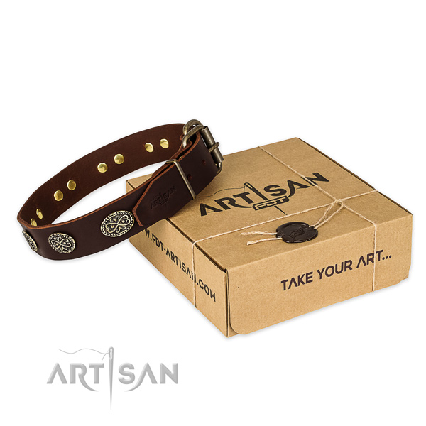 Rust resistant hardware on genuine leather collar for your lovely canine