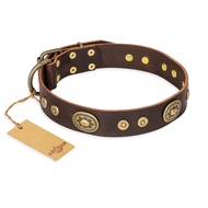 """One-of-a-Kind"" FDT Artisan Handmade Decorated Brown Leather English Bulldog Collar"