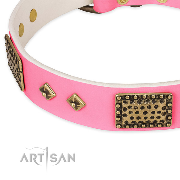 Full grain natural leather dog collar with studs for comfortable wearing