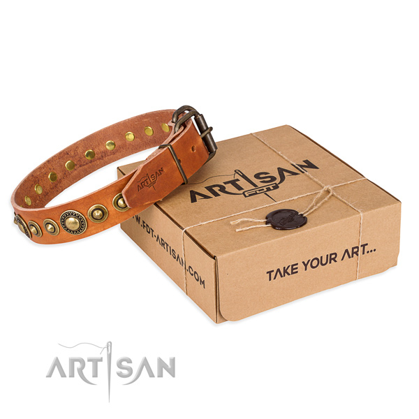 Top rate natural genuine leather dog collar crafted for daily use