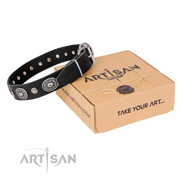 Gentle to touch full grain leather dog collar handcrafted for comfy wearing